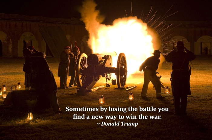 Cannon Fire at Night w Quote