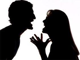male & female arguing